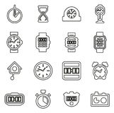 Clock or Watch Icons Set 2 Thin Line Vector Illustration Set. This image is a vector illustration and can be scaled to any size without loss of resolution Royalty Free Stock Image