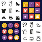 Clothing All in One Icons Black. This image is a vector illustration and can be scaled to any size without loss of resolution Royalty Free Stock Images