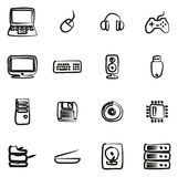 Computer Hardware Icons Freehand. This image is a vector illustration and can be scaled to any size without loss of resolution royalty free illustration