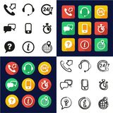 Customer Service All in One Icons Black & White Color Flat Design Freehand Set. This image is a vector illustration and can be scaled to any size without loss of Royalty Free Stock Photography