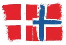 Denmark Flag & Norway Flag Vector Hand Painted with Rounded Brush. This image is a vector illustration and can be scaled to any size without loss of resolution Royalty Free Stock Image