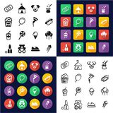 Fair All in One Icons Black & White Color Flat Design Freehand Set. This image is a vector illustration and can be scaled to any size without loss of resolution Royalty Free Stock Image