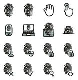 Fingerprint Icons Freehand 2 Color. This image is a vector illustration and can be scaled to any size without loss of resolution Stock Image