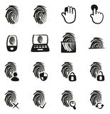 Fingerprint Icons Freehand Fill. This image is a vector illustration and can be scaled to any size without loss of resolution Royalty Free Stock Images