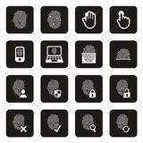 Fingerprint Icons White On Black. This image is a vector illustration and can be scaled to any size without loss of resolution Stock Photography