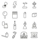 Fire Making Tools All in One Icons Black & White Color Flat Design Freehand Set. This image is a vector illustration and can be scaled to any size without loss Stock Image
