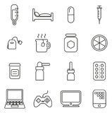 Flue or Cold or Sick Icons Thin Line Vector Illustration Set. This image is a vector illustration and can be scaled to any size without loss of resolution Stock Photos
