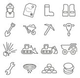 Gold Mining or Gold Rush Icons Thin Line Vector Illustration Set. This image is a vector illustration and can be scaled to any size without loss of resolution royalty free illustration