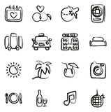 Honeymoon Trip Icons Freehand. This image is a vector illustration and can be scaled to any size without loss of resolution stock illustration