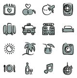 Honeymoon Trip Icons Freehand 2 Color. This image is a vector illustration and can be scaled to any size without loss of resolution stock illustration