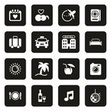 Honeymoon Trip Icons White On Black. This image is a vector illustration and can be scaled to any size without loss of resolution vector illustration