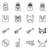 Kiss Band or Musician Icons Thin Line Vector Illustration Set. This image is a vector illustration and can be scaled to any size without loss of resolution Stock Image