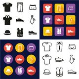 Mens Clothing All in One Icons Black & White Color Flat Design Freehand Set Royalty Free Stock Images