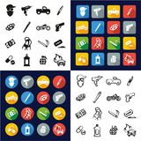 Modern Gangster All in One Icons Black & White Color Flat Design Freehand Set. This image is a vector illustration and can be scaled to any size without loss of Stock Photo