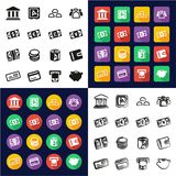 Money All in One Icons Black & White Color Flat Design Freehand Set. This image is a vector illustration and can be scaled to any size without loss of Stock Photo