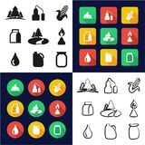 Moonshine All in One Icons Black & White Color Flat Design Freehand Set Stock Images