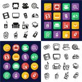 Movie Night All in One Icons Black & White Color Flat Design Freehand Set Stock Photo