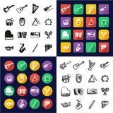 Musical Instruments All in One Icons Black & White Color Flat Design Freehand Set Stock Photos