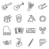 Musical Instruments Icons Thin Line Vector Illustration Set Stock Photos