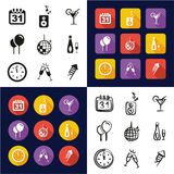 New Years Eve All in One Icons Black & White Color Flat Design Freehand Set Stock Photo