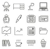 Office or Work Place Icons Thin Line Vector Illustration Set Stock Images