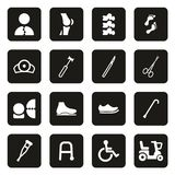 Orthopedic Icons White On Black. This image is a vector illustration and can be scaled to any size without loss of resolution Royalty Free Stock Photography