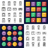 Pants All in One Icons Black & White Color Flat Design Freehand Set Stock Images