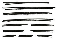 Pen Strokes Bold Line & Background Set 06. This image is a vector illustration and can be scaled to any size without loss of resolution Royalty Free Stock Image