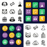 Pet All in One Icons Black & White Color Flat Design Freehand Set. This image is a vector illustration and can be scaled to any size without loss of resolution Stock Photos