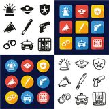 Police All in One Icons Black & White Color Flat Design Freehand Set. This image is a vector illustration and can be scaled to any size without loss of Royalty Free Stock Image