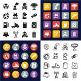 Pollution All in One Icons Black & White Color Flat Design Freehand Set. This image is a vector illustration and can be scaled to any size without loss of Royalty Free Stock Photo