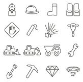 Quarry or Mine Icons Thin Line Vector Illustration Set Stock Image