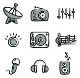 Radio Station Icons Freehand 2 Color vector illustration