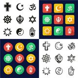 Religion All in One Icons Black & White Color Flat Design Freehand Set. This image is a vector illustration and can be scaled to any size without loss of Royalty Free Stock Image