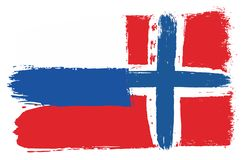 Russia Flag & Norway Flag Vector Hand Painted with Rounded Brush. This image is a vector illustration and can be scaled to any size without loss of resolution Royalty Free Stock Images