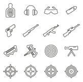 Shooting Range Icons Thin Line Vector Illustration Set Stock Photos