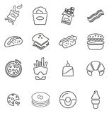 Snack or Junk Food Icons Thin Line Vector Illustration Set Royalty Free Stock Photography