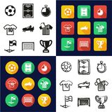Soccer All in One Icons Black & White Color Flat Design Freehand Set Stock Image
