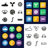 Submarine All in One Icons Black & White Color Flat Design Freehand Set Royalty Free Stock Photo