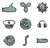 Submarine Icons Freehand 2 Color Stock Photos
