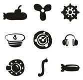 Submarine Icons Freehand Fill Royalty Free Stock Photo