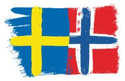 Sweden Flag & Norway Flag Vector Hand Painted with Rounded Brush. This image is a vector illustration and can be scaled to any size without loss of resolution Stock Photos