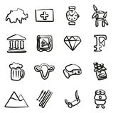 Switzerland Icons Freehand Royalty Free Stock Images
