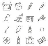 Tattoo Parlor Icons Thin Line Vector Illustration Set. This image is a vector illustration and can be scaled to any size without loss of resolution Stock Photos