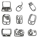 Technology Icons Freehand Royalty Free Stock Image