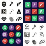 Thief All in One Icons Black & White Color Flat Design Freehand Set. This image is a vector illustration and can be scaled to any size without loss of resolution Stock Image