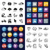 Tornado All in One Icons Black & White Color Flat Design Freehand Set. This image is a vector illustration and can be scaled to any size without loss of stock illustration
