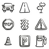 Traffic Icons Freehand Royalty Free Stock Photos