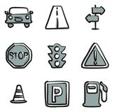 Traffic Icons Freehand 2 Color Royalty Free Stock Images