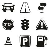 Traffic Icons Freehand Fill Stock Images